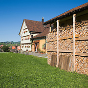 Appenzell, Switzerland, wood pile ready for winter stacked under cover ouside home<br />