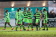 Forest Green Rovers Christian Doidge(9) celebrates his goal with team mates, 0-2 during the Vanarama National League match between Bromley FC and Forest Green Rovers at Hayes Lane, Bromley, United Kingdom on 7 January 2017. Photo by Shane Healey.