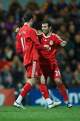 PRESTON, ENGLAND - Saturday, January 3, 2009: Liverpool's Albert Riera celebrates scoring the opening goal against Preston North End with team-mate Javier Mascherano during the FA Cup 3rd Round match at Deepdale. (Photo by David Rawcliffe/Propaganda)