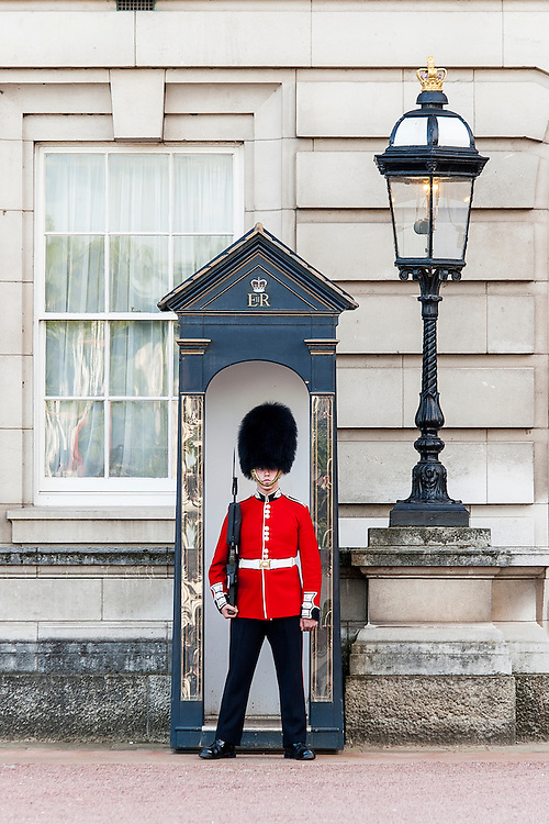 A soldier standing guard in central London