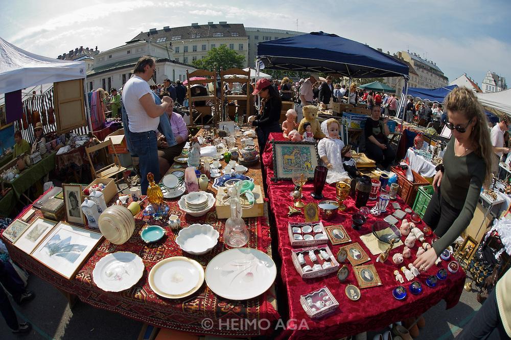The Naschmarkt, Vienna's biggest market. The Saturday flea market.