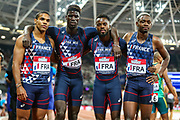 The French relay team, after the Men's 4x100m relay during the Athletics World Cup at the London Stadium, London, England on 14 July 2018. Picture by Toyin Oshodi.