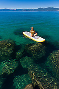 Stand up Paddle Boarding near Sand Harbor on Lake Tahoe