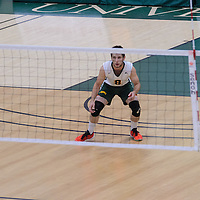 4th year libero Dylan Smith (8) of the Regina Cougars n action during the Men's Volleyball Home Game vs Trinity Western  on October 28 at the CKHS University of Regina. Credit Matt Johnson/Arthur Images