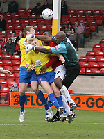 Photo: Mark Stephenson.<br />Walsall v Hereford United. Coca Cola League 2. 09/04/2007. Hereford's Alan Connell (C) puts pressure on the Walsall keeper Clayton Ince