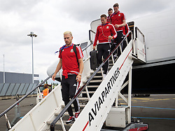 LILLE, FRANCE - Wednesday, June 15, 2016: Wales' Aaron Ramsey arrives in at Lille Lesquin International Airport as for their Group Stage MD 2 game of the UEFA Euro 2016 Championship against England. (Pic by David Rawcliffe/Propaganda)