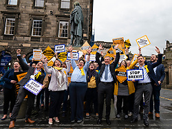 Edinburgh, Scotland, UK. 27 May, 2019. The six new Scottish MEPs are declared at the City Chambers in Edinburgh, SNP's Alyn Smith, Christian Allard and Aileen McLeod, Louis Stedman-Bruce from the Brexit Party, Sheila Ritchie of the Liberal Democrats and Baroness Nosheena Mobarik of the Conservatives. Pictured Liberal Democrats anti Brexit rally out side City Chambers following declaration of results. New Liberal Democrat MEP Sheila Ritchie  centre.