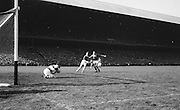 Goalie catches ball during the All Ireland Senior Gaelic Football Final Cork v. Meath in Croke Park on the 24th September 1967. Meath 1-9 Cork 0-9.