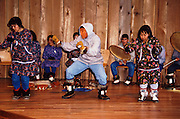 Alaska, Anchorage, Alaska Native Heritage Center. King Island Eskimo dancers and the Witch doctor dance.