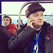 People ride gondolas between the alpine center and extreme park Monday, Feb. 10, 2014. Photographed during the Winter Olympics in Sochi, Russia with an iPhone and Instragram. (Brian Cassella/Chicago Tribune) B583527420Z.1 <br /> ....OUTSIDE TRIBUNE CO.- NO MAGS,  NO SALES, NO INTERNET, NO TV, CHICAGO OUT, NO DIGITAL MANIPULATION...