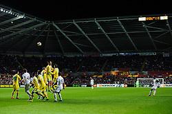 A freekick from Swansea Forward Wilfried Bony (CIV) goes over te wall - Photo mandatory by-line: Rogan Thomson/JMP - Tel: 07966 386802 - 20/02/2014 - SPORT - FOOTBALL - Liberty Stadium, Swansea -  Swansea City v SSC Napoli - UEFA Europa League, Round of 32, First Leg.