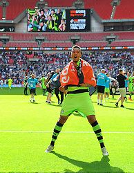 Keanu Marsh-Brown of Forest Green Rovers celebrates after the full time whistle - Mandatory by-line: Nizaam Jones/JMP - 14/05/2017 - FOOTBALL - Wembley Stadium- London, England - Forest Green Rovers v Tranmere Rovers - Vanarama National League Final
