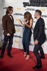 Image ©Licensed to i-Images Picture Agency. 16/07/2014. Madrid, Spain. (L-R) Director Matt Reeves, actress Keri Russell and Actor Andy Serkis attends the 'Dawn Of The Planets Of The Apes' premiere at Capitol Cinema. Picture by DyD Fotografos / i-Images<br /> SPAIN OUT