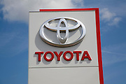 Toyota car sales dealership sign close up, Ransomes Europark, Ipswich, Suffolk, England