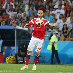July 7, 2018 - Sochi, Russia - July 07, 2018, Sochi, FIFA World Cup 2018, the playoff round. 1/4 finals of the World Cup. Football match Russia - Croatia at the stadium Fisht. Player of the national team Fedor Kudryashov. (Credit Image: © Russian Look via ZUMA Wire)