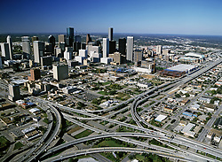 Aerial view of downtown Houston and its surrounding freeways and highways
