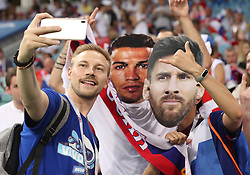 SOCHI, July 7, 2018  A fan poses for a photo prior to the 2018 FIFA World Cup quarter-final match between Russia and Croatia in Sochi, Russia, July 7, 2018. (Credit Image: © Cao Can/Xinhua via ZUMA Wire)
