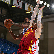 Delaware 87ers Forward EARL CLARK (22) drives to the basket as Canton Charge Forward NICK MINNERATH (21) defends in the first half of a NBA D-league regular season basketball game between the Delaware 87ers and the Canton Charge Tuesday, JAN, 26, 2016 at The Bob Carpenter Sports Convocation Center in Newark, DEL.