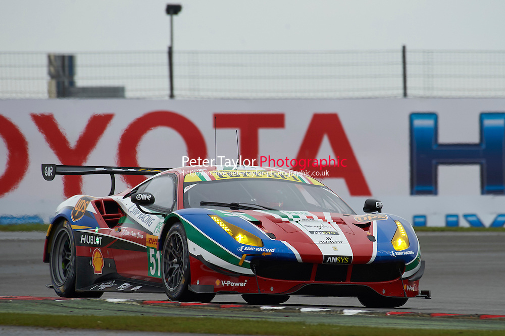 Gianmaria Bruni (ITA) / James Calado (GBR) #51 AF Corse Ferrari 488 GTE,  at Silverstone, Towcester, Northamptonshire, United Kingdom. April 15 2016. World Copyright Peter Taylor.