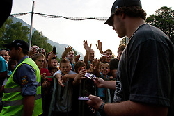 Anze Kopitar and fans at Slovenian ice-hockey player NHL Champion Anze Kopitar welcome ceremony when he arrived home after winning Stanley Cup at the end of season 2011/2012, on June 20, 2012, at Hrusica, Jesenice, Slovenia. (Photo By Matic Klansek Velej / Sportida)