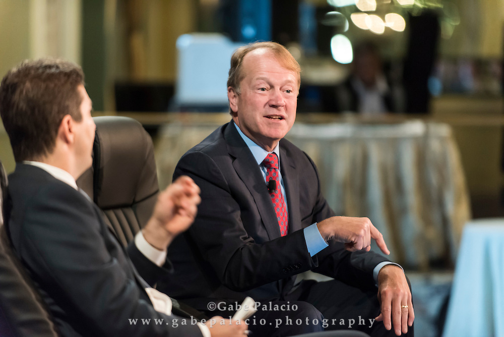 The Wall Street Journal Viewpoints Executive Breakfast Series featuring Dennis K. Berman<br /> Business Editor of The Wall Street Journal and John T. Chambers, Chairman and CEO of Cisco in New York City on September 24, 2014. (photo by Gabe Palacio)