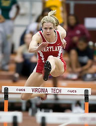 Crystal Bardge (Maryland) races in the women's 55m hurdles.  Day 1 of the Virginia Tech Invitational Track and Field meet was held at the Rector Field House on the campus of Virginia Tech in Blacksburg, VA on January 11, 2008.