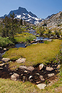 The middle fork of the San Joaquin River flows away from Banner Peak, Ansel Adams Wilderness