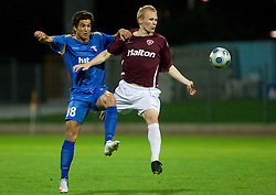 Sandi Arcon of Gorica vs Kalle Eerola of Lahti at 1st football match of 2nd preliminary Round of UEFA Europe League between ND Gorica and FC Lahti, on July 16 2009, in Nova Gorica, Slovenia. (Photo by Vid Ponikvar / Sportida)