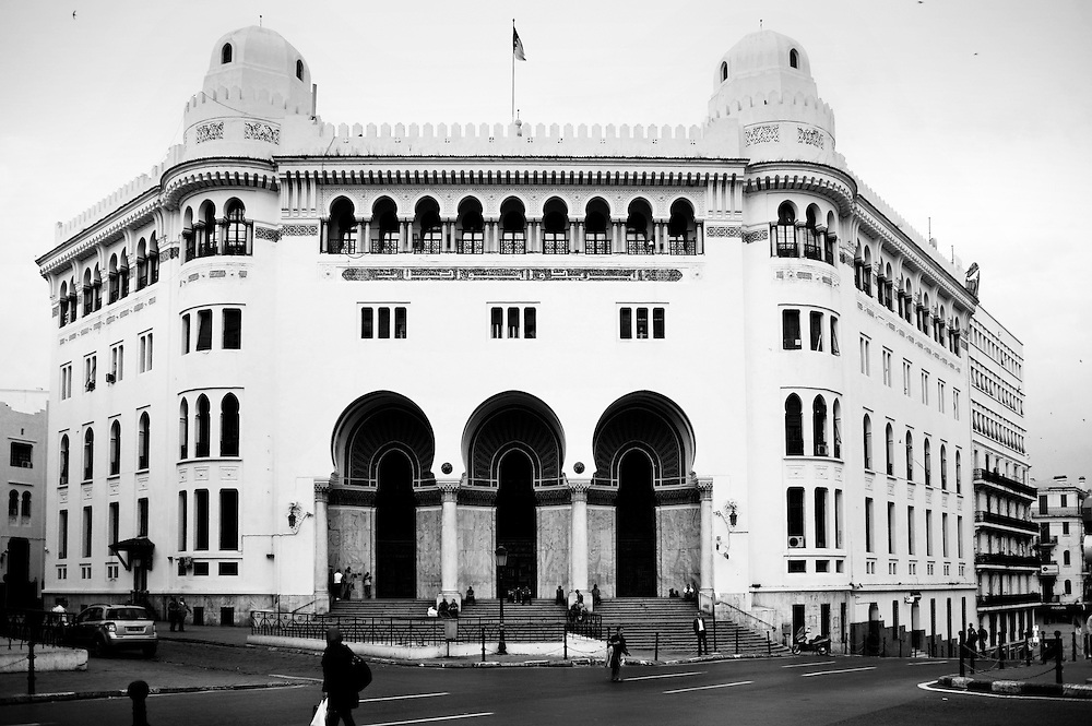 Algiers May 2012. The Grand Poste Office was built in 1910 by the architects Voinot and Tondoire in request of the French governor of Algiers:  the lieutenant general Charles Célestin Jonnart.  THe munumental building, in neo-Moorish style is located in downtown Algiers.