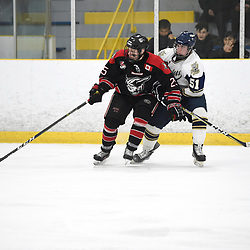 TORONTO, ON  - APR 10,  2018: Ontario Junior Hockey League, South West Conference Championship Series. Game seven of the best of seven series between Georgetown Raiders and the Toronto Patriots. Justin Paul #25 of the Georgetown Raiders tries to keep the puck from Justin Nolet #51 of the Toronto Patriots during the second period.<br /> (Photo by Andy Corneau / OJHL Images)