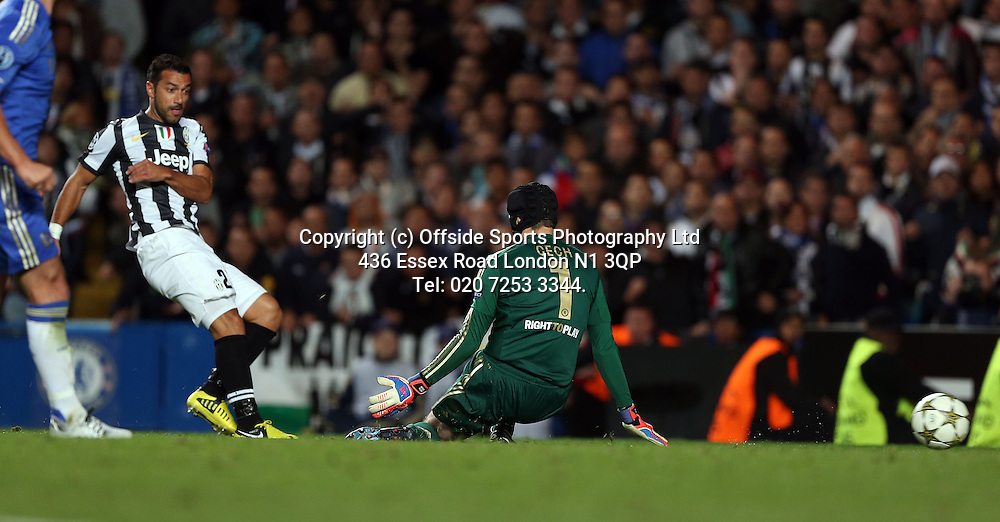 19 September 2012 Champions League football. Chelsea v Juventus.<br /> Fabio Quagliarella scores the 2nd goal for Juve.<br /> Photo: Mark Leech.