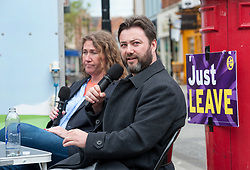 © Licensed to London News Pictures. 05/05/2019. Taunton, Somerset, UK. CARL BENJAMIN, a UKIP MEP candidate for south west England for the European elections, conducts a question and answer event in Taunton High Street with author HELEN DALE. The event was recorded for Carl Benjamin's online channel. Carl Benjamin as attracted controversy for what he says was a joke when he said he would not even rape the Labour MP Jess Phillips. Photo credit: Simon Chapman/LNP