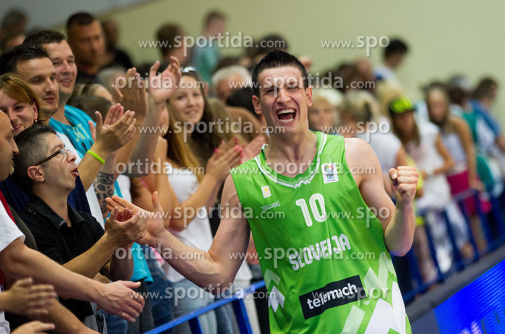 Alen Omic of Slovenia celebrates after winning the basketball match between National teams of Sweden and Slovenia in First Round of U20 Men European Championship Slovenia 2012, on July 13, 2012 in Domzale, Slovenia. Slovenia defeated Sweden 70-69. (Photo by Vid Ponikvar / Sportida.com)