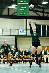 22 September 2015:  Colleen Rynne(9) sets up the ball during an NCAA womens division 3 Volleyball match between the Augustana Vikings and the Illinois Wesleyan Titans in Shirk Center, Bloomington IL