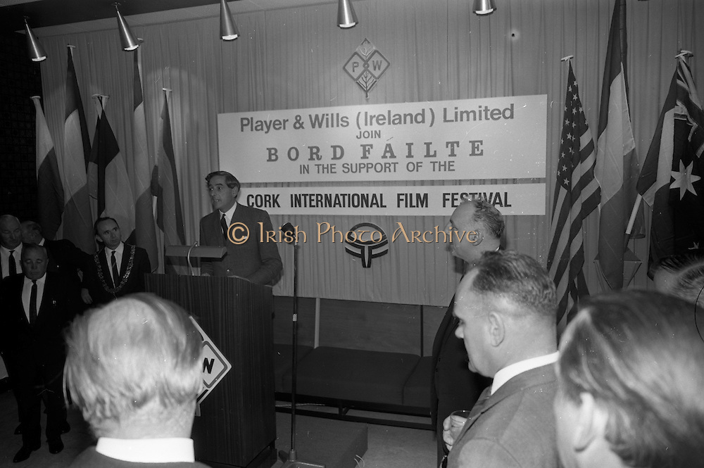 17/08/1967<br /> 08/17/1967<br /> 17 August 1967<br /> Player and Wills (Ireland) Ltd. give development grant to Cork Film Festival at Player and Wills headquarters, South Circular Road, Dublin. Picture shows Mr. Frank O'Reilly, Chairman of Player and Wills (Ireland) Ltd. addressing the gathering.
