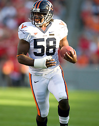 Virginia linebacker Antonio Appleby (58)..The North Carolina State Wolfpack defeated the #15 Virginia Cavaliers 29-24 at Carter Finley Stadium in Raleigh, NC on October 27, 2007.