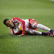 HARRISON, NEW JERSEY- November 06:  Gonzalo Veron #30 of New York Red Bulls reacts after being brought down in the penalty area by Evan Bush #1 of Montreal Impact during the New York Red Bulls Vs Montreal Impact MLS playoff match at Red Bull Arena, Harrison, New Jersey on November 06, 2016 in Harrison, New Jersey. (Photo by Tim Clayton/Corbis via Getty Images)