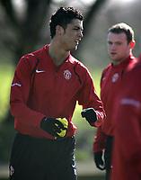 Photo: Paul Thomas.<br />Manchester United training session. UEFA Champions League. 06/03/2007.<br />Man Utd's Cristiano Ronaldo during training.