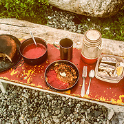 One of the best features of this campsite is that not far back inside the forest was the biggest red huckleberry (Vaccinium parvifolium) patch that I ever found anywhere in Southeast Alaska, and they were unquestionably my favourite berries, especially when they were cooked into a sauce to have with delicious multigrain pancakes. There were also plenty of blueberry (Vaccinium ovalifolium) and some thimbleberry (Rubus parviflorus) bushes, which was also one of my favourite berries. I started every morning collecting firewood and berry picking. There was also a nice cool mountain stream not too far away for collecting drinking water, washing my clothes and having icy cold baths.<br />
