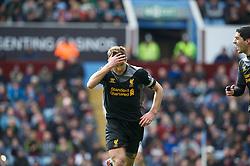 BIRMINGHAM, ENGLAND - Easter Sunday, March 31, 2013: Liverpool's captain Steven Gerrard celebrates scoring the second goal against Aston Villa during the Premiership match at Villa Park. (Pic by David Rawcliffe/Propaganda)