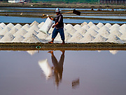 28 MARCH 2018 - BAN LAEM, PHETCHABURI, THAILAND:  during the 2018 salt harvest in Petchaburi province, about two hours south of Bangkok.          PHOTO BY JACK KURTZ