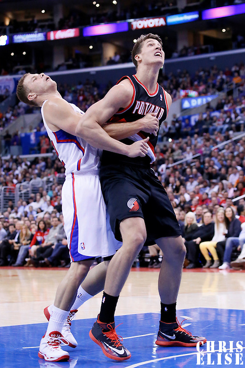 12 February 2014: Portland Trail Blazers center Meyers Leonard (11) vies for the rebound with Los Angeles Clippers power forward Blake Griffin (32) during the Los Angeles Clippers 122-117 victory over the Portland Trail Blazers at the Staples Center, Los Angeles, California, USA.