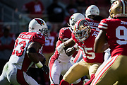 San Francisco 49ers strong safety Eric Reid (35) attempts to tackle Arizona Cardinals running back Adrian Peterson (23) during a carry at Levi's Stadium in Santa Clara, Calif., on November 5, 2017. (Stan Olszewski/Special to S.F. Examiner)