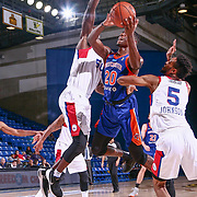 Westchester Knicks Forward NIGEL HAYES (20) drive to the basket as Delaware 87ers Forward EMEKA OKAFOR (50) defends in the first half of a NBA G-league regular season basketball game between the Delaware 87ers and the Westchester Knicks (New York Knicks) Tuesday, Nov. 07, 2017, at The Bob Carpenter Sports Convocation Center in Newark, DEL