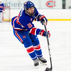 TORONTO, ON  - OCT 29,  2017: Ontario Junior Hockey League game between the Toronto Jr. Canadiens and the Toronto Patriots, Matthew O'Brian #16 of the Toronto Jr. Canadiens passes the puck during the third period. <br /> (Photo by Catherine Kim / OJHL Images)