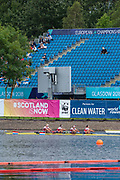 "Glasgow, Scotland, ""2nd August 2018"", The Netherlands Women's Straight Four, ""NED W4-"" passing under a sparsley populated Granstand after the finish of their heatEuropean Games, Rowing, Strathclyde Park, North Lanarkshire, © Peter SPURRIER/Alamy Live News"