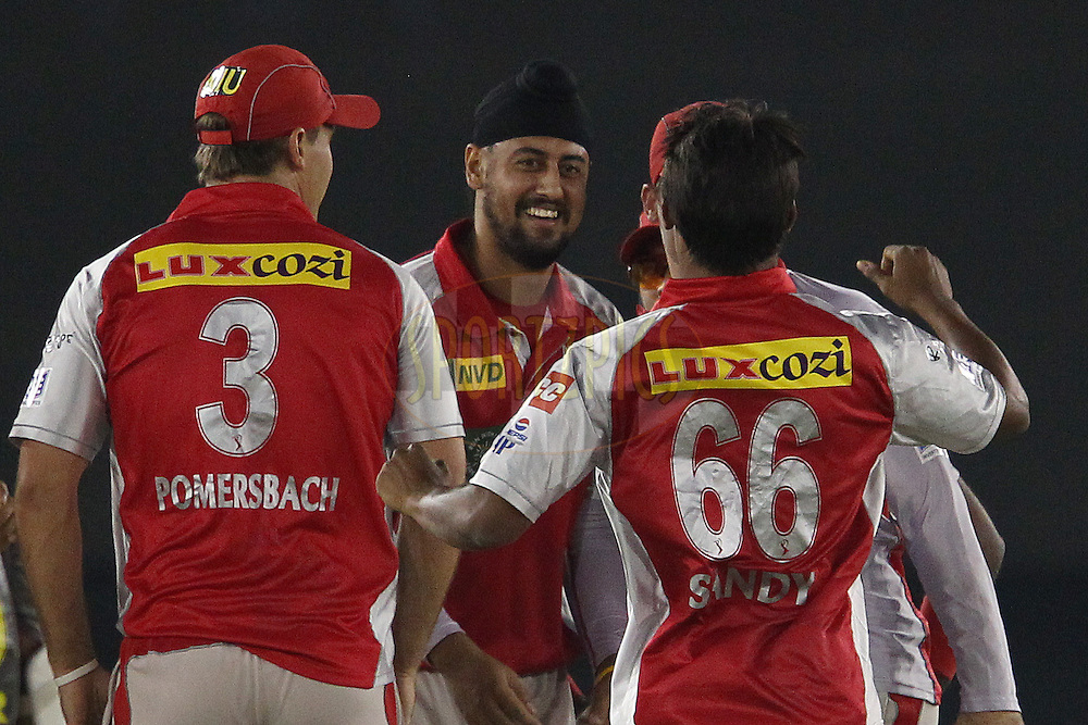 Harmeet Singh celebrates the wicket of Shikhar Dhawan during match 59 of of the Pepsi Indian Premier League between The Kings XI Punjab and the Sunrisers Hyderabad held at the PCA Stadium, Mohal, India  on the 11th May 2013..Photo by Ron Gaunt-IPL-SPORTZPICS ..Use of this image is subject to the terms and conditions as outlined by the BCCI. These terms can be found by following this link:..http://www.sportzpics.co.za/image/I0000SoRagM2cIEc