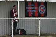 Greenwich fan complete with drum during the Southern Counties East match between AFC Croydon Athletic and Greenwich Borough at the Mayfield Stadium, Croydon, United Kingdom on 12 March 2016. Photo by Martin Cole.