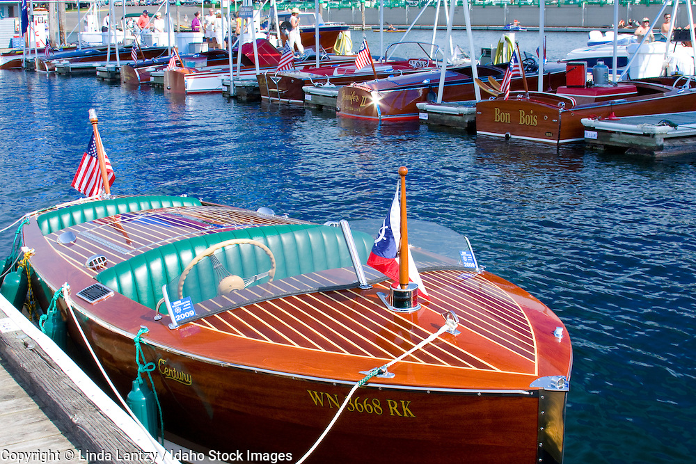 Idaho, Coeur d' Alene. The antique and classic boat society International boat show on the floating boardwalk in Coeur D Alene Idaho, features vintage wooden boats from around the world. Sept. 19, 2008