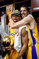17 June 2010: Guards Derek Fisher (2) and Sasha Vujacic (18) of the Los Angeles Lakers celebrate after the Lakers defeat the Boston Celtics 83-79 and win the NBA championship in Game 7 of the NBA Finals at the STAPLES Center in Los Angeles, CA.